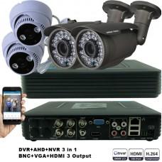 KIT2-HD/ 1xDVR 4 canale- 2 X camere AHD 720P(1MP) de exterior cu lentila reglabila 2.8-12 mm -2 X c amere AHD 720P(1MP)  de interior