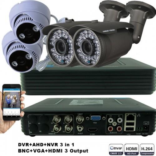 KIT2-HD/ Kit de supraveghere 1xDVR cu 4 canale AHD-L model MHK-1104HV, 2xcamere AHD 720P (1Mp) model UV-AHDBX708 de exterior cu lentilă reglabilă între 2,8 și 12 mm, 2xcamere AHD 720P (1Mp) model UV-AHDDX314 de interior