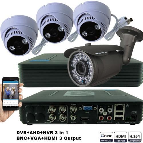 KIT3-HD/ Kit de supraveghere 1xDVR cu 4 canale AHD-L model MHK-1104HV, 1xcameră AHD 720P (1Mp) model UV-AHDBX708 de exterior cu lentilă reglabilă între 2,8 și 12 mm și 3xcamere AHD 720P (1Mp) model UV-AHDDX314 de interior