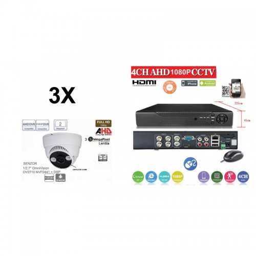 KIT44HD/ Kit de supraveghere 1xDVR 4 Canale ANALOG HD-L model AHD2004Z  și 3xcamere Analog HD 1080P (2 Mp) model UV-AHDDP314 de interior