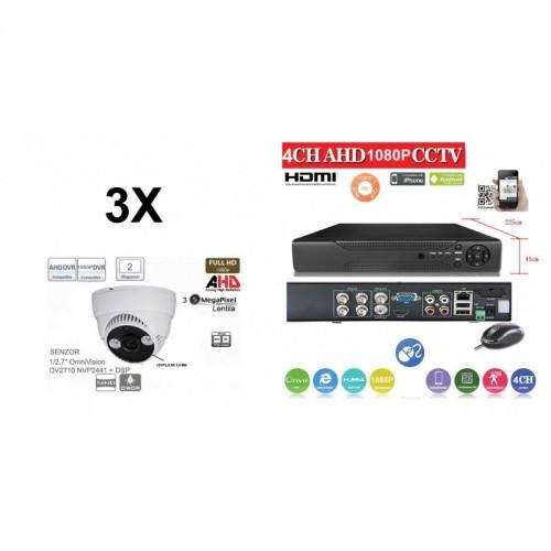 KIT44HD/ Kit de supraveghere 1xDVR 4 Canale ANALOG HD-L model AHD2004Z  și 3xcamere Analog HD 1080P (2 Mp) model UV-AHDDP314 de interior
