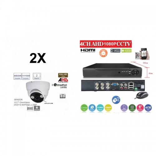 KIT45HD/ Kit de supraveghere 1xDVR 4 Canale ANALOG HD-L model AHD2004Z  și 2xcamere Analog HD 1080P (2 Mp) model UV-AHDDP314 de interior
