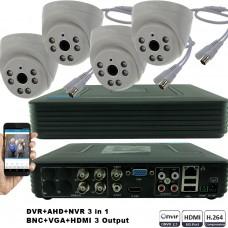 KIT4-HD/ Kit de supraveghere 1xDVR cu 4 canale AHD-L model MHK-1104HV și 4xcamere AHD 720P (1Mp) model UV-AHDDX315 de interior
