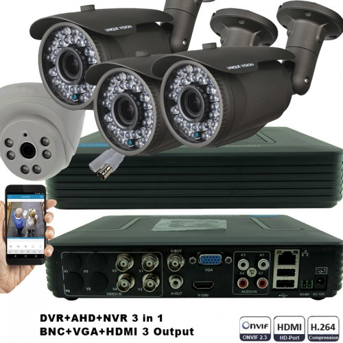 KIT5-HD/ Kit de supraveghere 1xDVR cu 4 canale AHD-L model MHK-1104HV, 3xcamere AHD 720P (1Mp) model UV-AHDBX708 de exterior cu lentilă reglabilă între 2,8 și 12 mm și 1xcameră AHD 720P (1Mp) model UV-AHDDX315 de interior