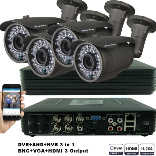 KIT6-HD/ 1xDVR 4 canale AHD- 4Xcamere AHD 720P(1MP)  de exterior cu lentila reglabila 2.8-12 mm