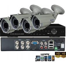 KIT7-HD/ 1xDVR 4 canale AHD-L- 4 X camere AHD 960P(1.3MP) de exterior cu lentila reglabila 2.8-12 mm