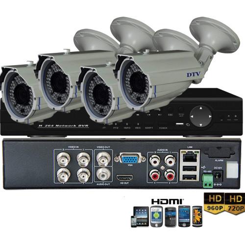 KIT7-HD/ Kit de supraveghere 1xDVR 4 canale AHD-L MHK-6104HV și 4xcamere AHD 960P (1,3 Mp) model EAHD130-T169IR36 de exterior cu lentilă reglabilă între 2,8-12 mm