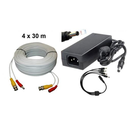 KIT-11/ Kit 4 cabluri de 30 m și alimentator 14V/5A