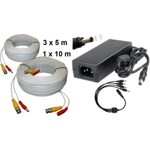 KIT-15/ Kit 1 cablu de 10 m, 3 cabluri de 5 m și alimentator 12V/4A
