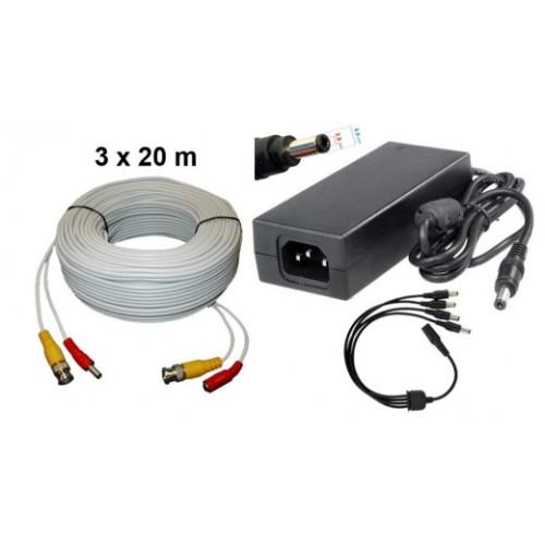 KIT-2/ Kit 3 cabluri 20 m și alimentator 13V/5A