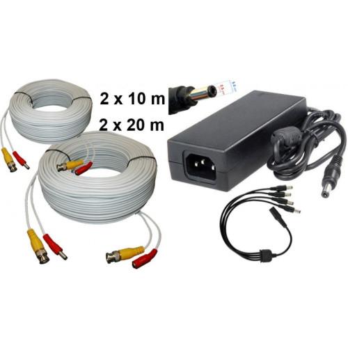 KIT-4/ Kit 2 cabluri de 20 m, 2 cabluri de 10 m și alimentator 13V/5A