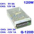 Q-120D/ Sursă de alimentare tip open frame multitensiuni: 12V/1A, 12V/2A, 5V/8A, 24V/2A