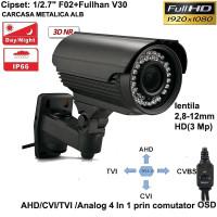 UV-AHDBP703/ Cameră de supraveghere AHD/CVI/TVI /Analog 4 în 1 (2 Mpixeli) de exterior pentru 20-25 metri pe timp de noapte și lentilă reglabilă între 2,8-12 mm