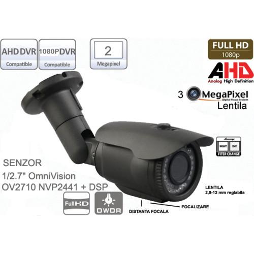 UV-AHDBP905/ Cameră de supraveghere full AHD (1080P) de exterior cu lentilă reglabilă între 2,8-12 mm