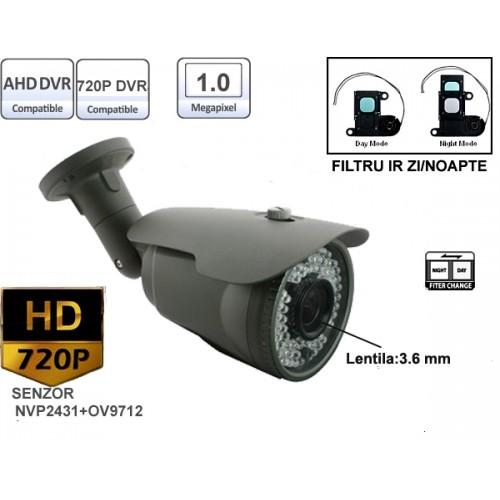 UV-AHDBX610/ Cameră de supraveghere AHD (1 Mpixel/720P) de exterior/interior pentru 15-20 metri cu lentilă fixă de 3,6 mm