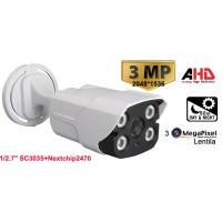 UV-AHDBZ909/ Cameră de supraveghere AHD (3 Mpixeli) de exterior/interior pentru 50 metri pe timp de noapte și lentilă fixă de 3,6 mm