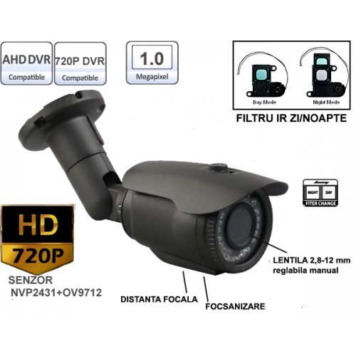 UV-AHDBX905/ Cameră de supraveghere AHD (1 Mpixel/720P) de interior/exterior cu lentilă reglabilă între 2,8-12 mm