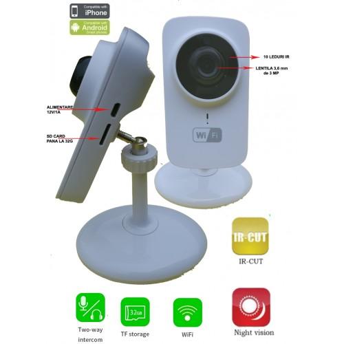 WFS1/ Minicameră de supraveghere  IP Wireless cu înregistrare pe card SD până la o lună, cu audio și sistem de compresie H.265
