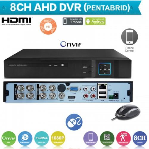 XVR1008/ Pentabrid DVR cu 8 canale 1080N (960x1080) compatibil cu camerele AHD de 1,1.3 și 2 Mpixeli, CVI la 2 Mpixeli, camere analogice (960H) și camere IP 1080P