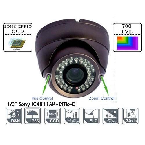 ADST30S70/ Cameră de supraveghere metalica tip Dome de interior/exterior cu lentilă reglabilă între 2,8-12 mm