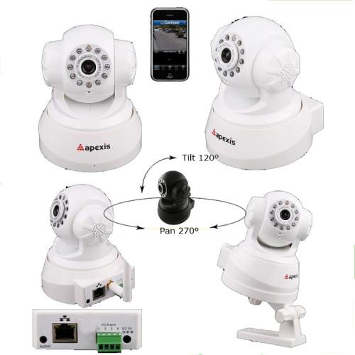 APM-J011/ Cameră de supraveghere cu funcție internet, pan& tilt, infraroșu și audio (duplex) de interior culoare albă, vizualizare directă pe telefoane mobile cu 3G