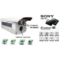 CM120-T172ER2_4mm/ Cameră de supraveghere de înaltă rezoluție pentru distanțe medii pe timp de noapte (30 m reali) și lentilă de 4 mm, compatibilă cu toate tipurile de DVR-uri analogice