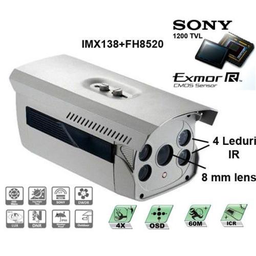 CM120-T173ER4/ Cameră de supraveghere de înaltă rezoluție pentru distanțe mari pe timp de noapte (60 m reali) compatibilă cu DVR-uri analogice