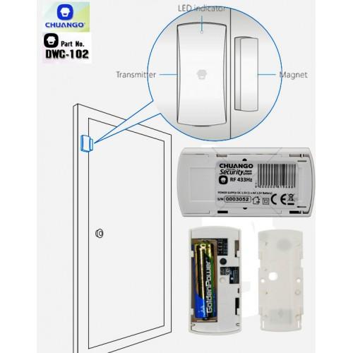 DWC-102/ Contact magnetic compatibil cu sistemele de alarma CHUANGO CG-G5 si GO2