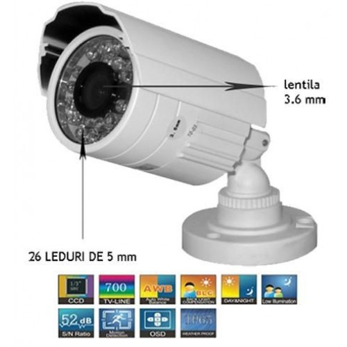 GS-600ACT016IR26/ Cameră de supraveghere analogică 700 TVL cu cipset Sony de exterior/interior pentru distanțe mici