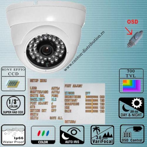ADSP20H70/ Cameră de supraveghere albă tip Dome cu lentilă fixă de 3,6 mm pentru distanțe mici
