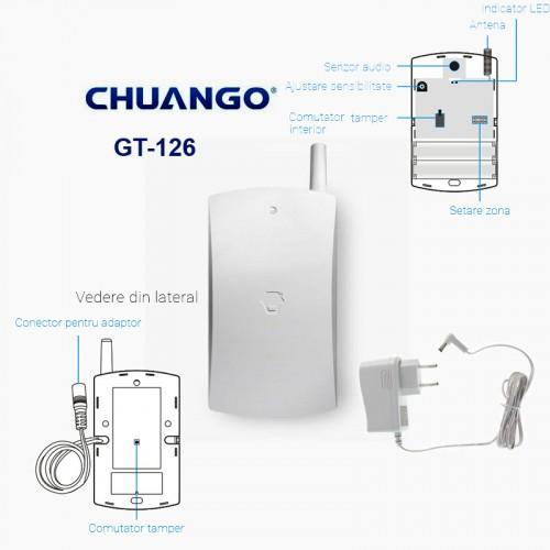 GT-126/ DETECTOR DE GEAM SPART WIRELESS compatibil cu sistemele de alarma CHUANGO GO2 si CG-G5