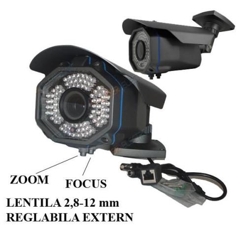 IPC-8050-TA/ Cameră de supraveghere cu funcție internet de 1 Mpixel de exterior cu lentilă varifocală reglabilă de la 2,8-12 mm, compatibilă cu NRV-urile TI Standard Onvif  (3004 și 5008)