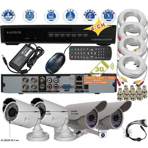 KIT-5/ Kit de supraveghere cu 4 camere analogice de interior/exterior cu cipset SONY pentru distanțe mici