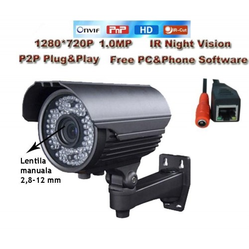 MHK-N701-100W/ Cameră de supraveghere cu funcție internet de înaltă rezoluție 1 Mpixel de exterior lentilă varifocală reglabilă între 2,8-12 mm, compatibilă cu NRV-urile și HVR-urile MHK Standard Onvif 2.2