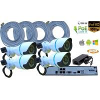NVR-K09S/ Kit de supraveghere NVR 4 canale + 4 camere de interior/exterior IP full HD la 2 Mpixeli și PoE