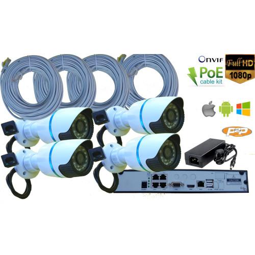 NVR-K09S KIT/ SUPRAVEGHERE NVR 4 CANALE +4 CAMERE DE INTERIOR/ EXTERIOR IP FULL HD LA 2 MPIXELI SI POE