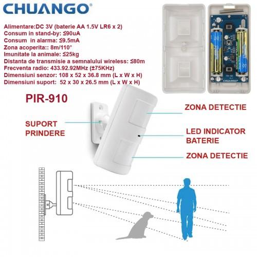 PIR-910/ Detector de miscare cu imunitate la animale compatibil cu sistemele de alarma CHUANGO CG-G5 si GO2