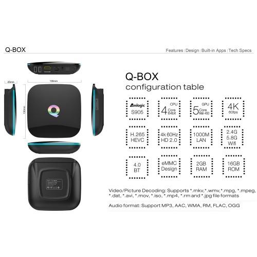 Q-BOX S905/ TV Box 1000M Ethernet 4K H.265 Android 5.1 Amlogic S905 Quad Core BT 4.0 WiFi HD 2.0