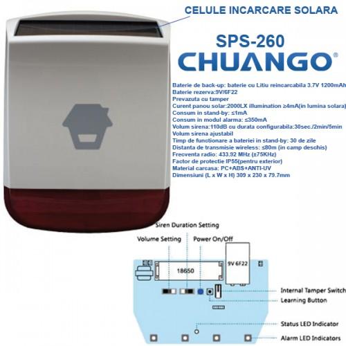 SPS-260/ Sirenă de exterior wireless cu încărcare solară compatibilă cu sistemele de alarmă CHUANGO GO2 și CG-G5