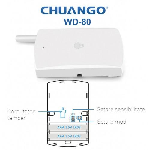 WD-80/ DETECTOR DE VIBRATII WIRELESS compatibil cu sistemele de alarma CHUANGO GO2 si CG-G5